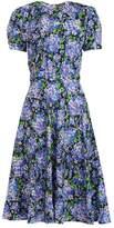 Vika Gazinskaya Floral-print puff-sleeves silk dress