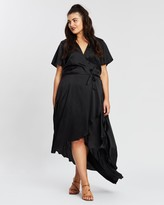 Missguided Curve Satin SS Wrap Maxi Dress