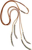 Nakamol Long Tasseled Suede & Quartz Lariat Choker Necklace, Brown