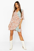 boohoo Contrast Floral Print Frill Hem Wrap Skater Dress