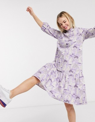 Monki Totto statue print drop hem midi shirt dress in lilac