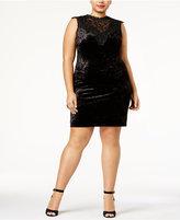 Almost Famous Trendy Plus Size Lace-Trim Velvet Dress