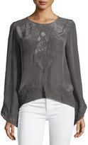 Love Sam Long-Sleeve Jewel-Neck Top W/Lace Insets