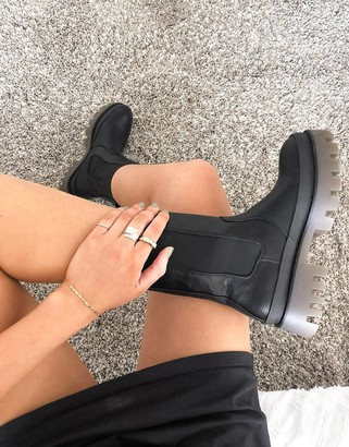 Bershka pull on chunky sole boot with contrast sole in black
