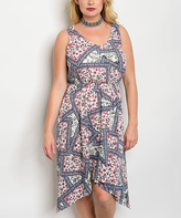 Ivory & Wine Floral Sidetail Dress - Plus