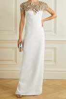 Marchesa - Embellished Tulle-trimmed Crepe Gown - Ivory