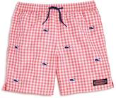 Vineyard Vines Boys' Gingham Embroidered-Whale Chappy Swim Trunks - Little Kid, Big Kid