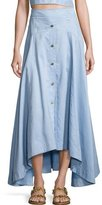 Peter Pilotto Button-Front Midi Skirt, Light Blue