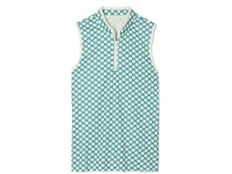 Tory Burch Printed Performance Sleeveless Half-Zip