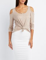 Charlotte Russe Strappy Cold Shoulder Knotted Top