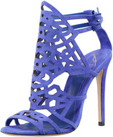 Brian Atwood Cutout Suede Sandal, Purple
