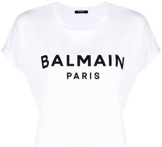 Balmain logo cropped T-shirt