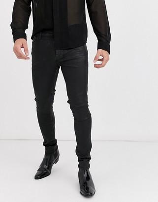 Asos Design DESIGN super skinny coated leather look jeans in black