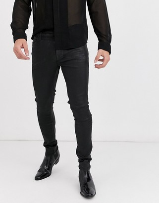 ASOS DESIGN super skinny coated leather look jeans in black