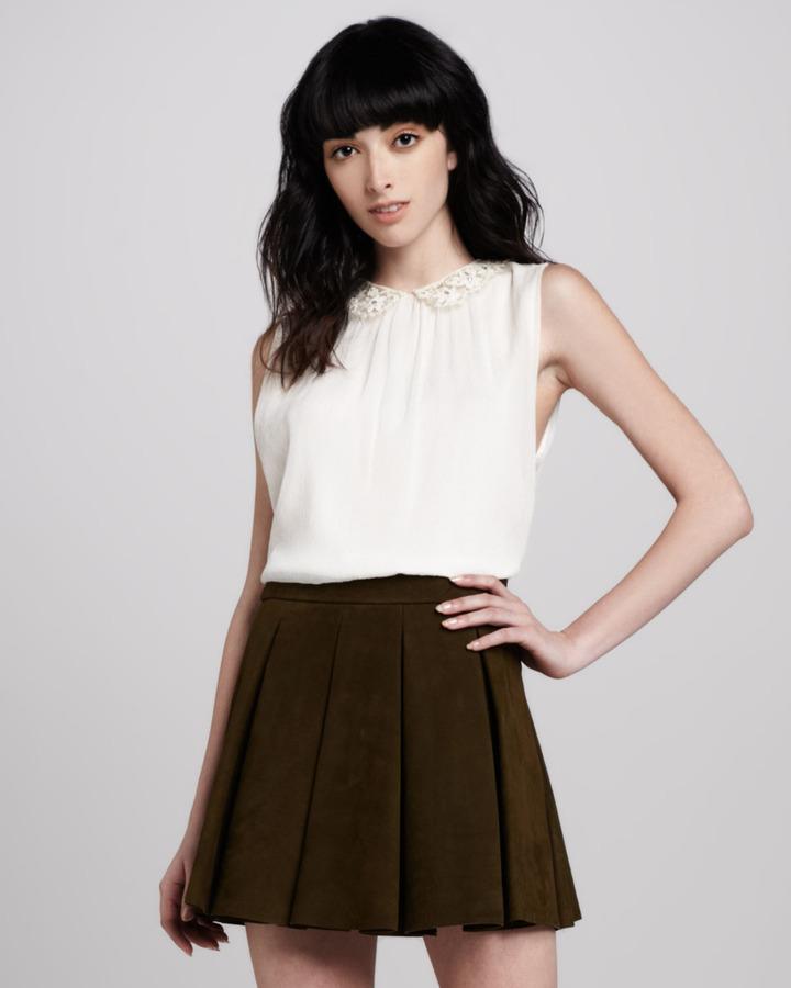 Alice + Olivia Chae Lace-Neck Sleeveless Top