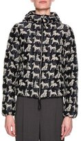 Giorgio Armani Quilted Dog Jacquard Hooded Jacket, Neutral/Black