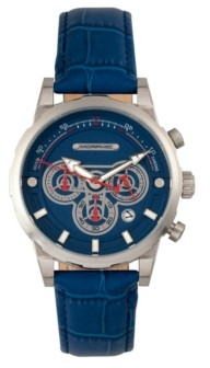 Morphic M60 Series, Silver Case, Blue Leather Chronograph Band Watch w/Date, 45mm