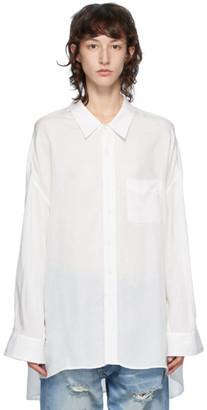 R 13 White Drop Neck Shirt