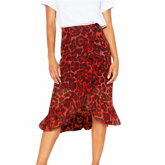 Celucke Vintage Leopard Print Long Midi Skirts High Waist Pleated Asymmetrical Irregular Casual Red Skirt