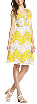 Adrianna Papell Sleeveless Striped Lace Sheath Dress