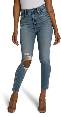 Good American Good Curve Ripped Ankle Skinny Jeans