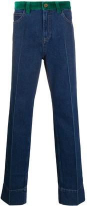 Wales Bonner Contrast Waist Bootcut Jeans