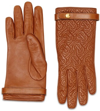 Burberry Leather TB Monogram Quilted Gloves
