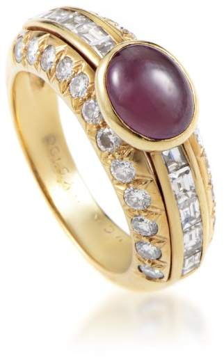 Van Cleef & Arpels 18K Yellow Gold Diamond & Ruby Cabochon Ring