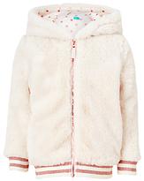 John Lewis Girls' Faux Fur Bomber Jacket, Cream