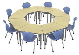 Marco Group Inc. Classroom Set: 8 Collaborative Desks & 8 Chairs