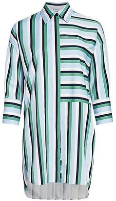 Akris Punto Multicolor Patchwork Stripe Tunic Blouse