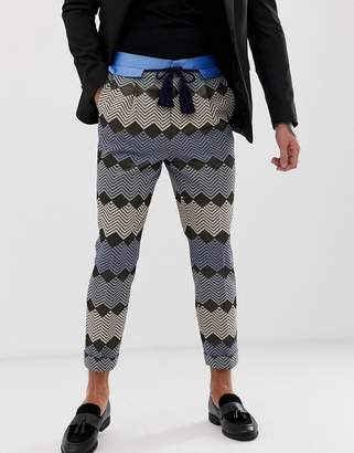 Asos Edition EDITION tapered smart trouser in blue zig zag jacquard with rope belt