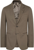 Caruso Brown Butterfly Slim-Fit Unstructured Stretch-Cotton Suit Jacket