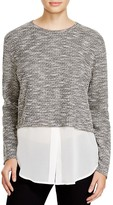 Michael Stars Crew Neck Crop Chiffon Layer Sweater - Bloomingdale's Exclusive