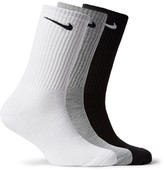 Nike Three-pack Cushioned Cotton-blend Socks