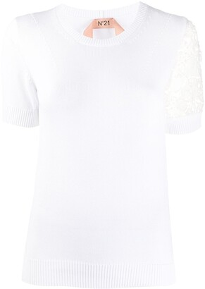 No.21 Lace Detail Knitted Top