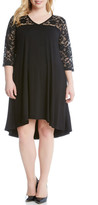Karen Kane Lace Yoke Trapeze Dress (Plus Size)