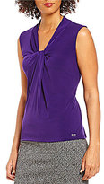 Calvin Klein Petites Knotted V-Neck Matte Jersey Shell