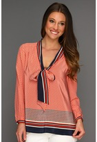 Juicy Couture Nantucket Geo CDC Peasant Blouse (Siren) - Apparel