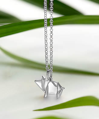 Lily Charmed Women's Necklaces Silver - Sterling Silver Origami Pig Pendant Necklace