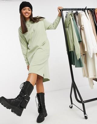 Monki Mindy organic cotton midi jumper dress in green