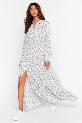 Nasty Gal Womens Getting to Grow You Floral Maxi Dress - White - 4, White
