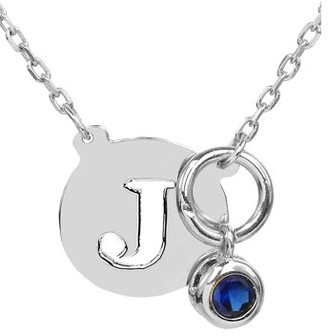 """Jay Aimee Designs Sterling Silver 5/8"""" Pierced Single Capital Initial with Bezel Set Drop Birthstone on 18"""" Link Chain"""