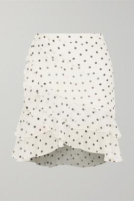 Balmain Ruffled Polka-dot Silk-georgette Mini Skirt - White