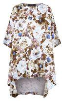 eskandar Hi-Lo Floral Print Linen T-Shirt