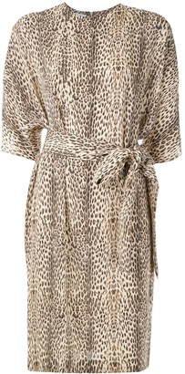 Gloria Coelho Belted Leopard Print Dress