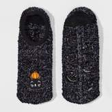 Women's Black Cat Halloween Slipper Socks with Grippers -Black One Size