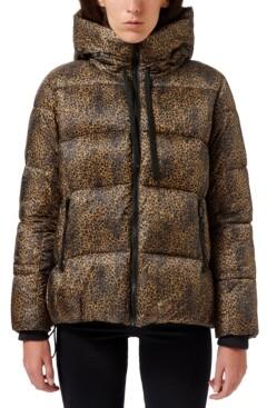 Sam Edelman Leopard-Printed Hooded Puffer Coat