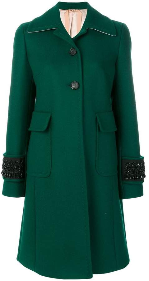 No.21 embellished cuff coat
