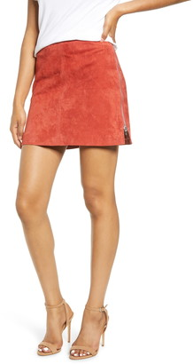Blank NYC Side Zip Suede Miniskirt